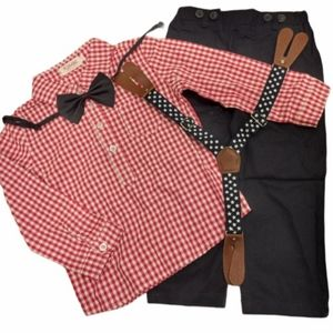 NWT Plaid Outfit with Tie and Suspenders